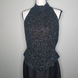 Papell Boutique Evening Wear Beaded top Silk